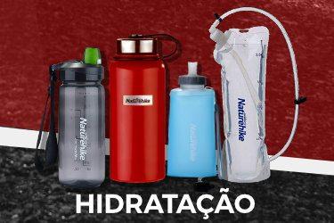 Garrafas, reservatórios de hidratação, garrafas térmicas...
